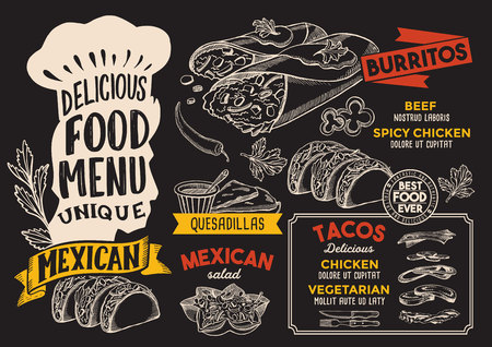 Mexican menu template for restaurant on a chalkboard background