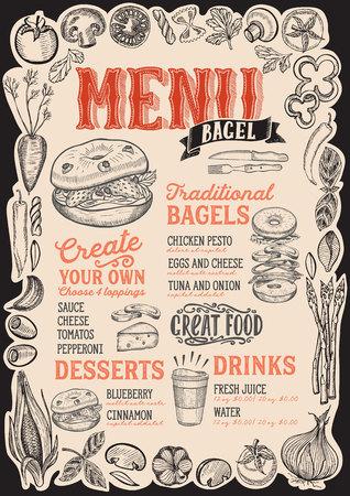 Bagel and sandwich menu template for restaurant Vector Illustration