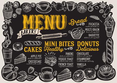 Bakery menu template for restaurant on a blackboard background