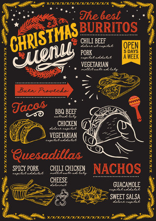 Christmas menu template for Mexican restaurant and cafe on a blackboard background Vettoriali