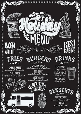 Christmas menu template for food truck on blackboard background