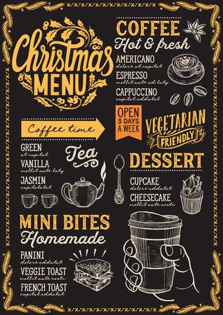 Christmas menu template for coffee shop on a blackboard background Illusztráció