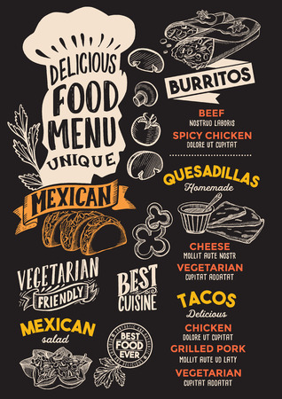 Mexican menu template for restaurant on a blackboard background Иллюстрация