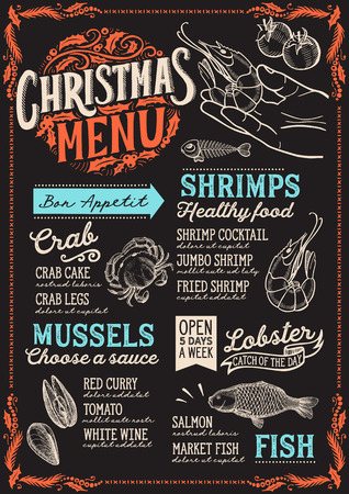 Christmas menu template for seafood restaurant and cafe on a blackboard background Illustration