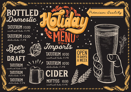 Christmas menu template for beer restaurant and bar on a blackboard background Vector Illustration