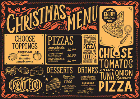 Christmas menu template for pizza restaurant and cafe on a blackboard background vector illustration brochure for xmas dinner. Design poster with vintage lettering and holiday hand-drawn graphic decorations.