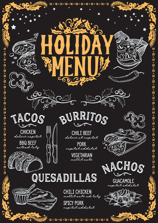 Christmas menu template for mexican restaurant and cafe on a blackboard background vector illustration brochure for xmas dinner celebration. Poster with vintage lettering and holiday hand-drawn graphic decorations.