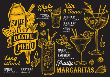 Cocktail menu template for restaurant on a blackboard background