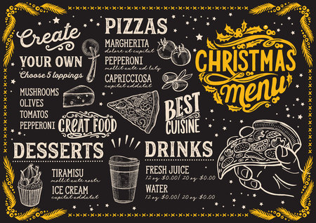Christmas menu template for pizza restaurant and cafe on a blackboard