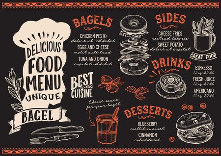 Bagel menu template for restaurant on a blackboard background