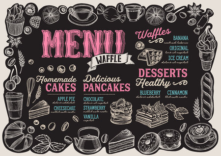 Waffle and pancake menu template for restaurant on a blackboard background Çizim