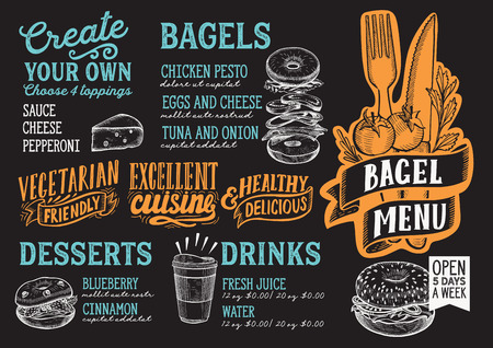Bagel and sandwich menu template for restaurant on a blackboard background Иллюстрация