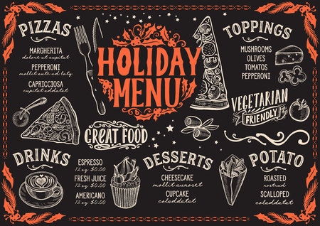 Christmas menu template for pizza restaurant on a blackboard background vector illustration brochure for xmas dinner celebration. Design poster with vintage lettering and holiday hand-drawn graphic decorations.