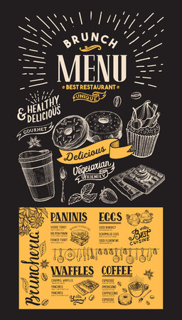 Brunch restaurant menu. Vector food flyer for bar and cafe. Design template on chalkboard background with vintage hand-drawn illustrations. Ilustração