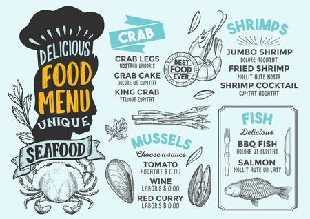 Seafood menu template for restaurant vector illustration brochure for gourmet food and drink cafe.  イラスト・ベクター素材