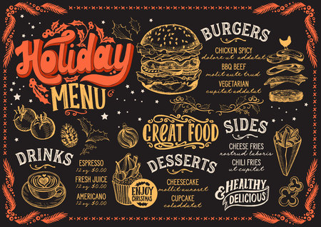 Christmas menu template for burger restaurant and on a blackboard background