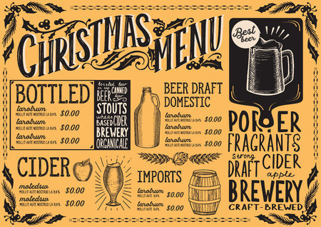 Christmas menu template for beer restaurant and bar vector illustration brochure for xmas night celebration.