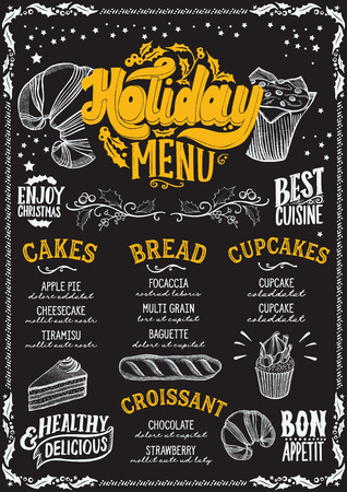 Christmas menu template for bakery and dessert cafe on a blackboard background