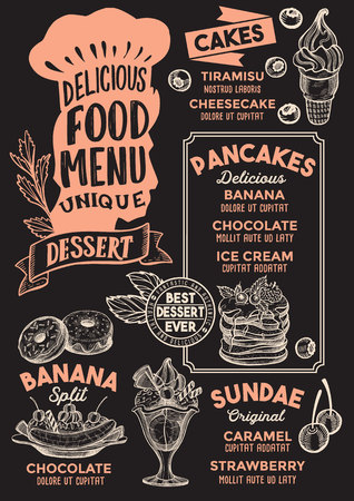 Dessert menu template for restaurant on a blackboard background