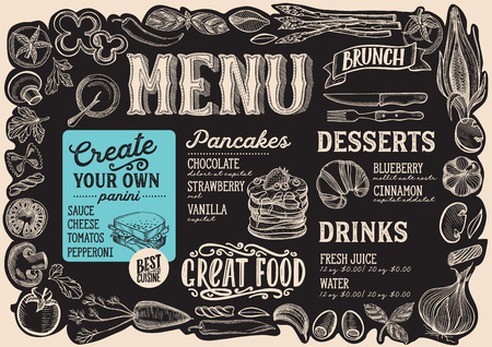 Brunch menu template for restaurant on a blackboard background Ilustração