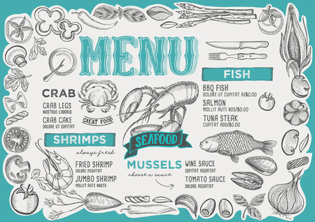 Seafood menu template for restaurant vector illustration brochure for food and drink cafe.