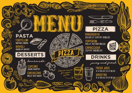 Pizza menu template for restaurant on a blackboard background Archivio Fotografico - 110312321