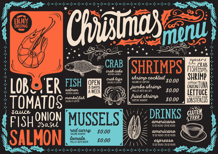Christmas menu template for seafood restaurant on a blackboard background