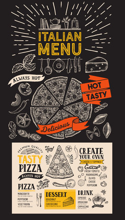 Pizza menu for Italian restaurant. Vector food flyer for bar and cafe. Illustration