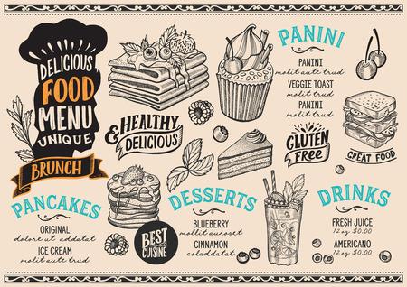 Brunch menu template for restaurant on beige background