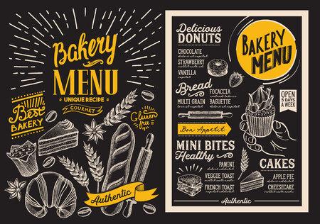 Bakery dessert menu for restaurant. Design template on chalkboard background