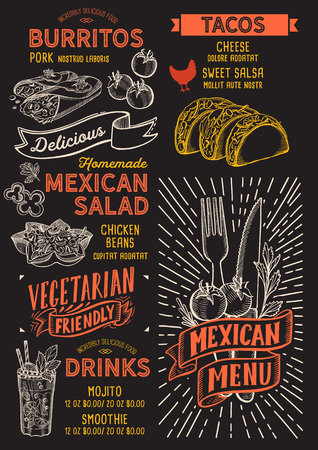 Mexican menu template for restaurant on a blackboard background Illustration