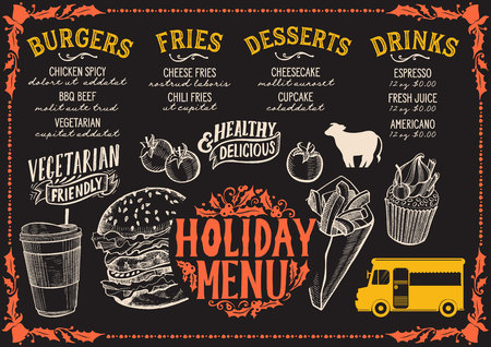 Christmas menu template for food truck on chalkboard background