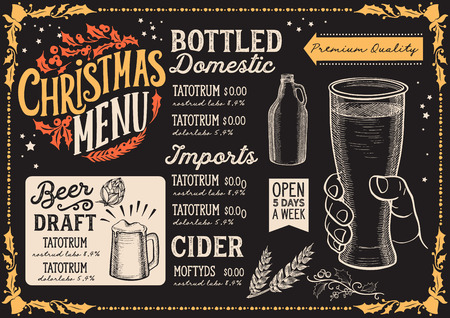 Christmas menu template for beer restaurant and bar on a blackboard background Stock Illustratie