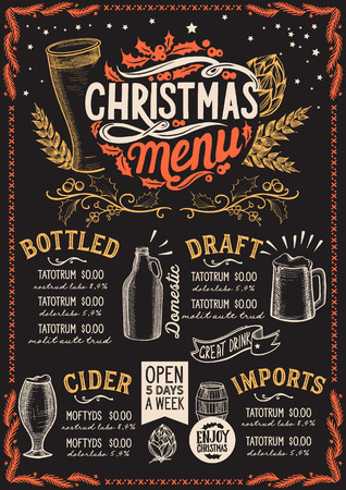 Christmas menu template for beer restaurant and bar on a blackboard background Illustration