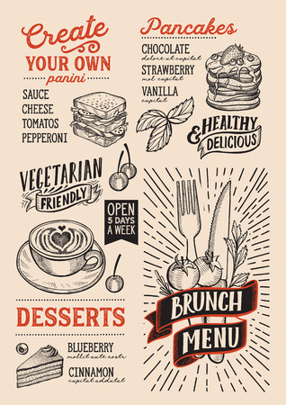 Brunch menu template for restaurant on a beige background