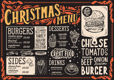 Christmas menu template for burger restaurant and cafe on a blackboard background Ilustração