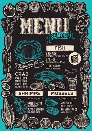 Seafood menu template for restaurant on a blackboard background