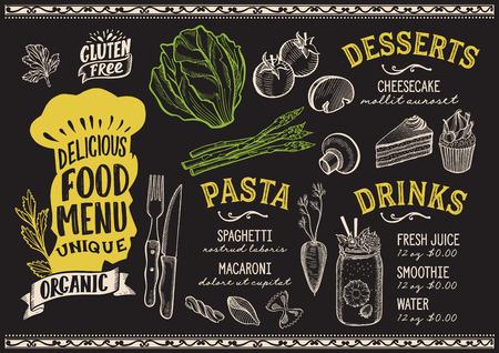 Organic menu template for vegetarian restaurant on a blackboard background Vector Illustration