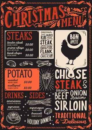 Christmas menu template for steak restaurant and cafe Illustration