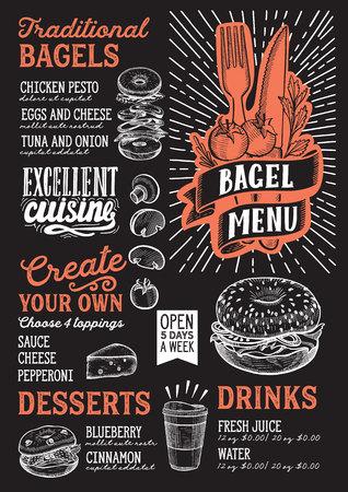 Bagel and sandwich menu template for restaurant on a blackboard background 向量圖像