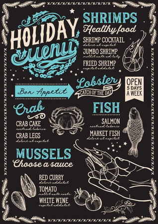 Christmas menu template for seafood restaurant and cafe on a blackboard background  イラスト・ベクター素材