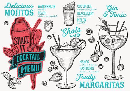 Cocktail menu template for restaurant vector illustration brochure for food and drink bar. Çizim
