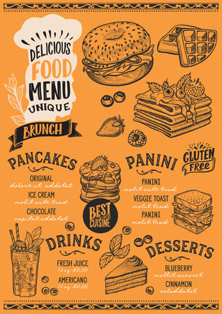 Brunch menu template for restaurant on yellow background vector illustration brochure for gourmet food and drink cafe. Design layout with vintage chef?s hat lettering and doodle hand-drawn graphic.