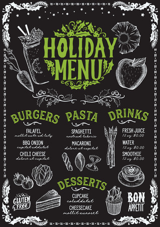 Christmas menu template for vegetarian restaurant and cafe on a blackboard background vector illustration brochure for xmas dinner celebration. Poster with vintage lettering and holiday hand-drawn graphic decorations. Vettoriali