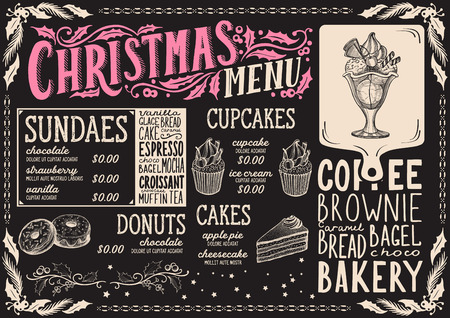 Christmas menu template for dessert restaurant and cafe on a blackboard background vector illustration brochure for xmas dinner celebration. Design with vintage lettering and holiday hand-drawn graphic decorations.