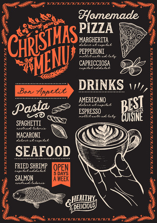 Christmas menu template for restaurant and cafe on a blackboard background vector illustration food brochure for xmas dinner celebration. Design poster with lettering and holiday hand-drawn graphic decorations.