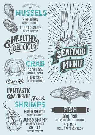 Seafood menu template for restaurant on a blue background vector illustration brochure for food and drink cafe. Design layout with vintage lettering and doodle hand-drawn graphic icons. 写真素材 - 112880459
