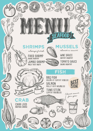 Seafood menu template for restaurant on a blue background vector illustration brochure for food and drink cafe. Design layout with vintage lettering and frame of hand-drawn graphic vegetables.  イラスト・ベクター素材