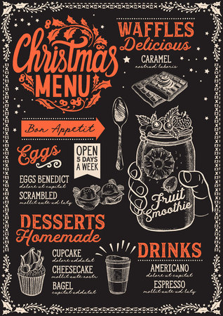 Christmas menu template for brunch on a blackboard background vector illustration brochure for xmas dinner celebration. Design poster with lettering and holiday hand-drawn graphic decorations.