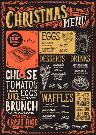 Christmas menu template for brunch on a blackboard background vector illustration brochure for xmas dinner celebration. Design poster with vintage lettering and hand-drawn graphic decorations. Illustration
